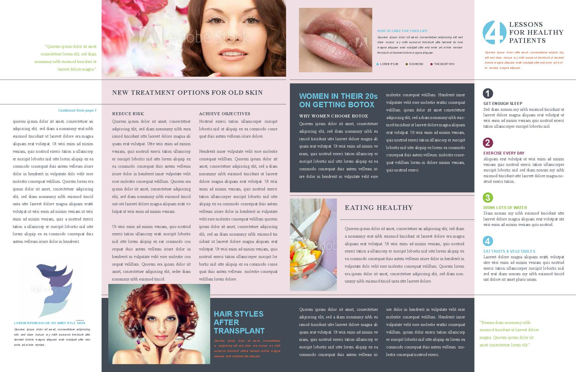 Plastic surgery newsletter pages 2 and 3