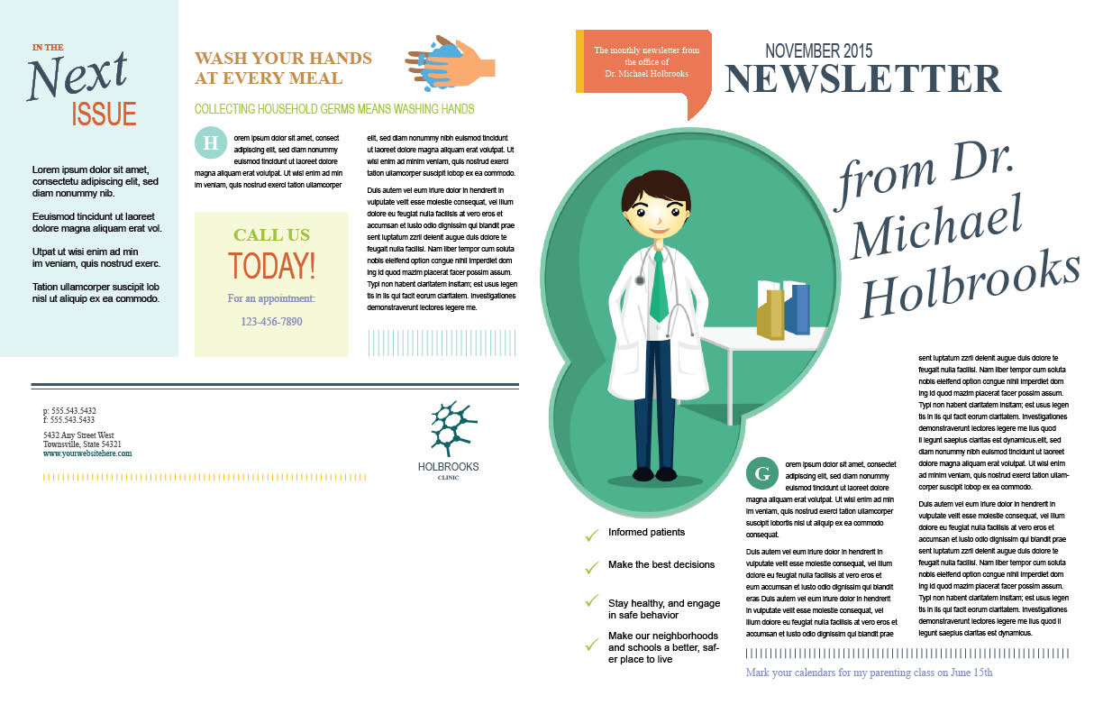 Family practice newsletter pages 1 and 4