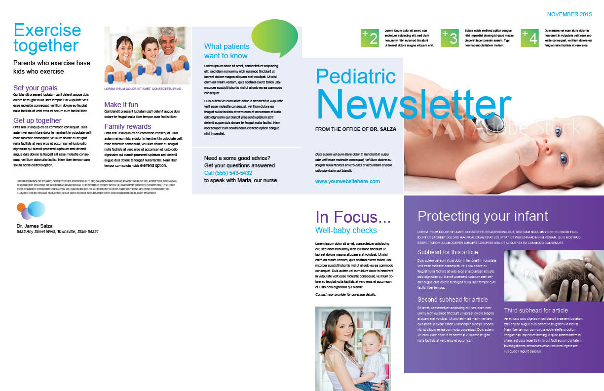 Pediatrics newsletter pages 1 and 4